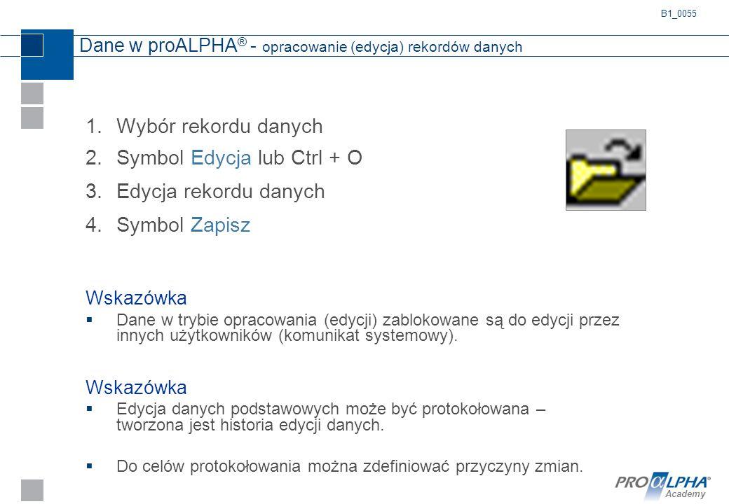Academy Dane w proALPHA ® - opracowanie (edycja) rekordów danych 1.Wybór rekordu danych 2.Symbol Edycja lub Ctrl + O 3.Edycja rekordu danych 4.Symbol