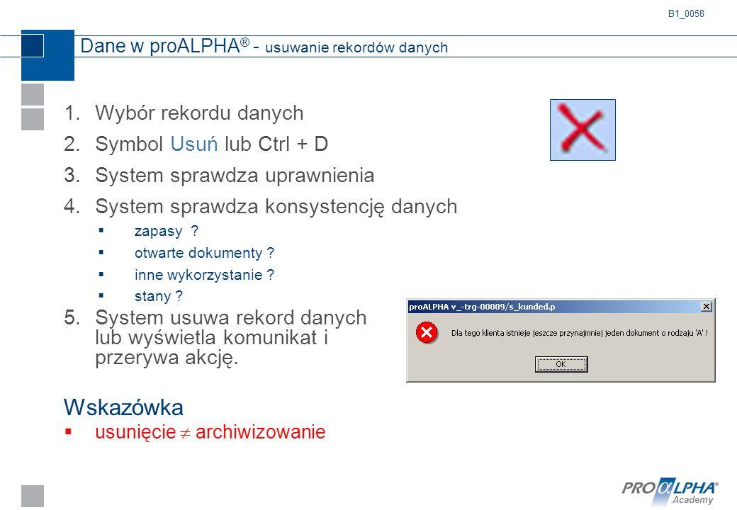 Academy Dane w proALPHA ® - usuwanie rekordów danych 1.Wybór rekordu danych 2.Symbol Usuń lub Ctrl + D 3.System sprawdza uprawnienia 4.System sprawdza