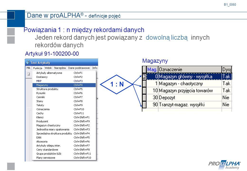 Academy Dane w proALPHA ® - definicje pojęć Powiązania 1 : n między rekordami danych Jeden rekord danych jest powiązany z dowolną liczbą innych rekord