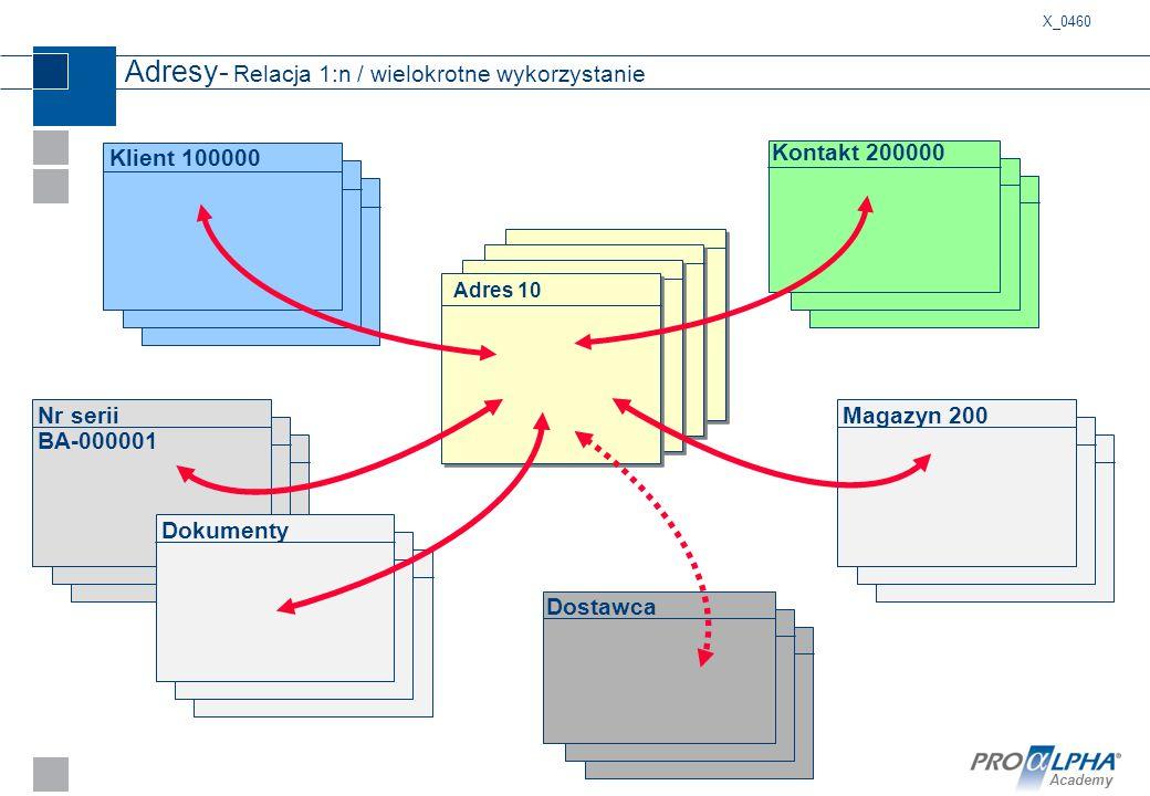 Academy Adresy- Relacja 1:n / wielokrotne wykorzystanie Klient 100000 Kontakt 200000 Nr serii BA-000001 Dokumenty Adres 10 Magazyn 200 Dostawca X_0460