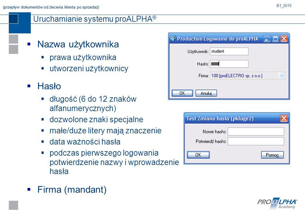 Academy Uruchamianie systemu proALPHA ®  Nazwa użytkownika  prawa użytkownika  utworzeni użytkownicy  Hasło  długość (6 do 12 znaków alfanumerycz