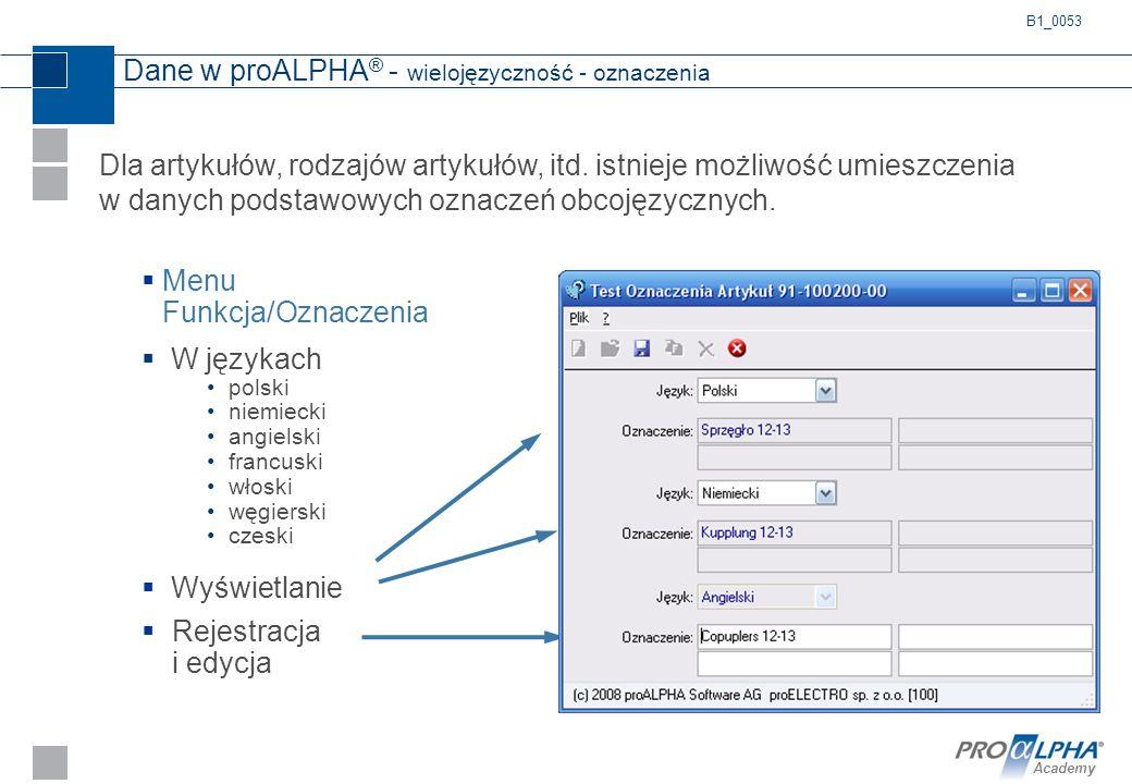 Academy Dane w proALPHA ® - wielojęzyczność - oznaczenia  Menu Funkcja/Oznaczenia  W językach polski niemiecki angielski francuski włoski węgierski