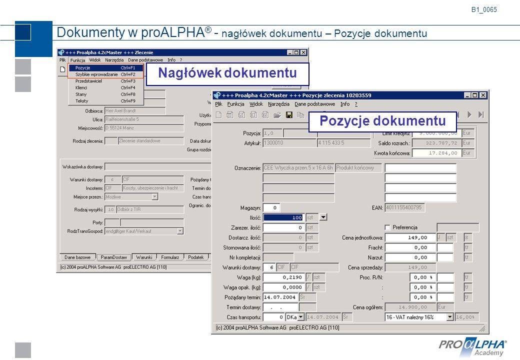 Academy Dokumenty w proALPHA ® - nagłówek dokumentu – Pozycje dokumentu Nagłówek dokumentu B1_0065 Pozycje dokumentu