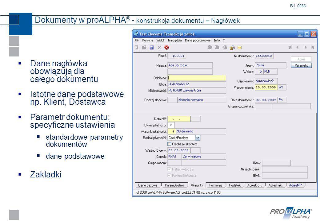 Academy Dokumenty w proALPHA ® - konstrukcja dokumentu – Nagłówek  Dane nagłówka obowiązują dla całego dokumentu  Istotne dane podstawowe np. Klient