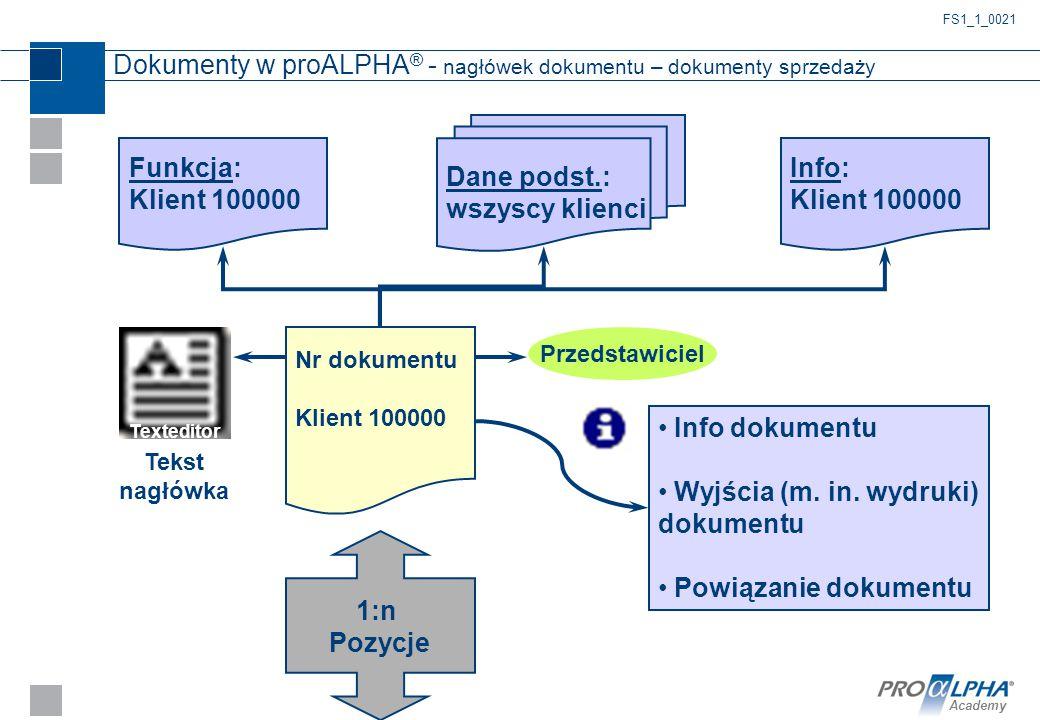 Academy Dokumenty w proALPHA ® - nagłówek dokumentu – dokumenty sprzedaży Nr dokumentu Klient 100000 Funkcja: Klient 100000 Dane podst.: wszyscy klien