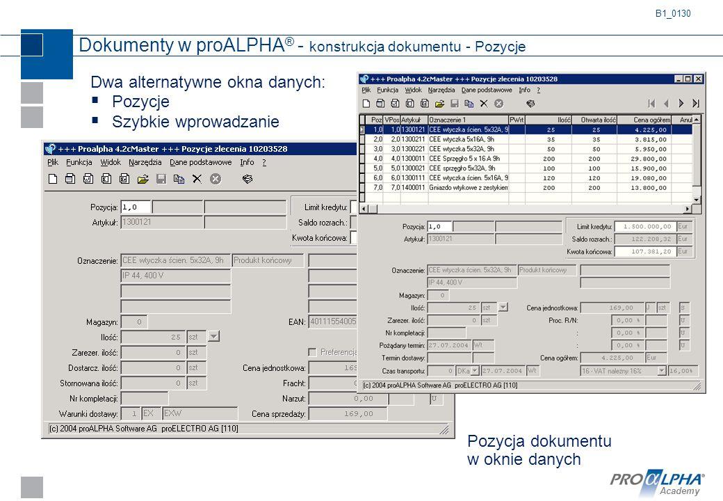 Academy Dokumenty w proALPHA ® - konstrukcja dokumentu - Pozycje Pozycja dokumentu w oknie danych Dwa alternatywne okna danych:  Pozycje  Szybkie wp
