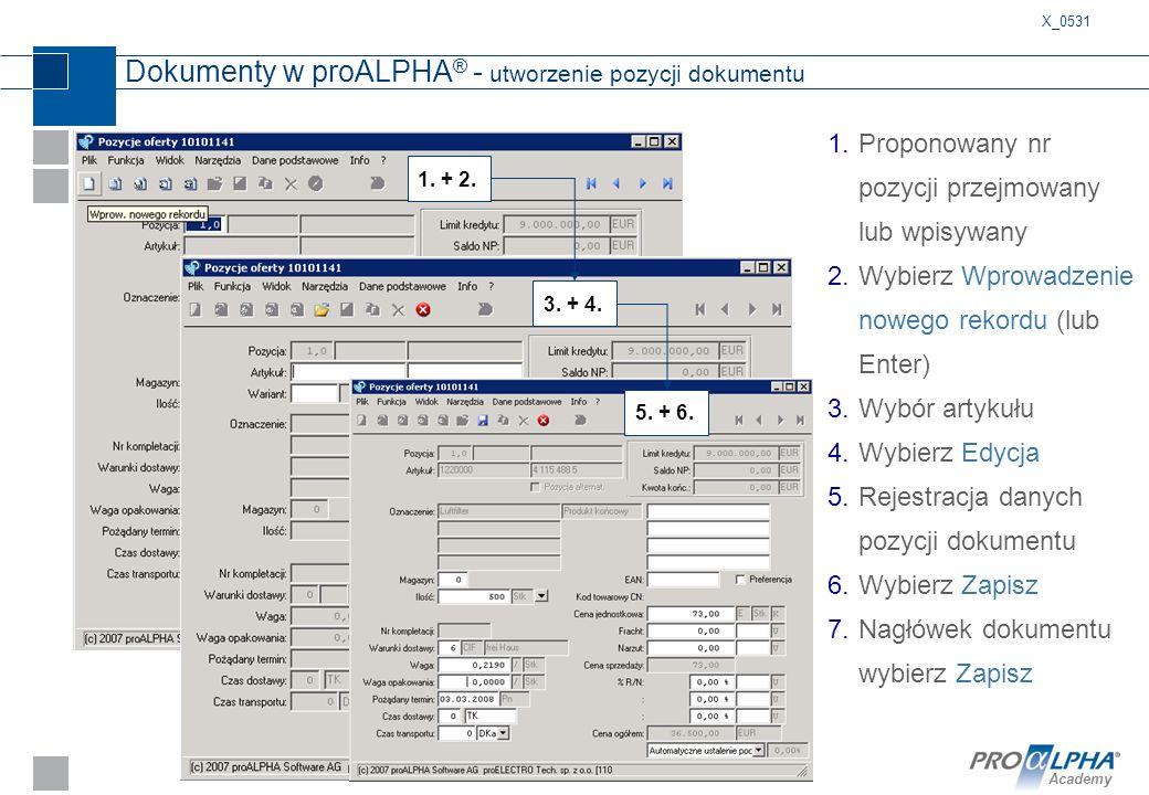 Academy Dokumenty w proALPHA ® - utworzenie pozycji dokumentu 1.Proponowany nr pozycji przejmowany lub wpisywany 2.Wybierz Wprowadzenie nowego rekordu