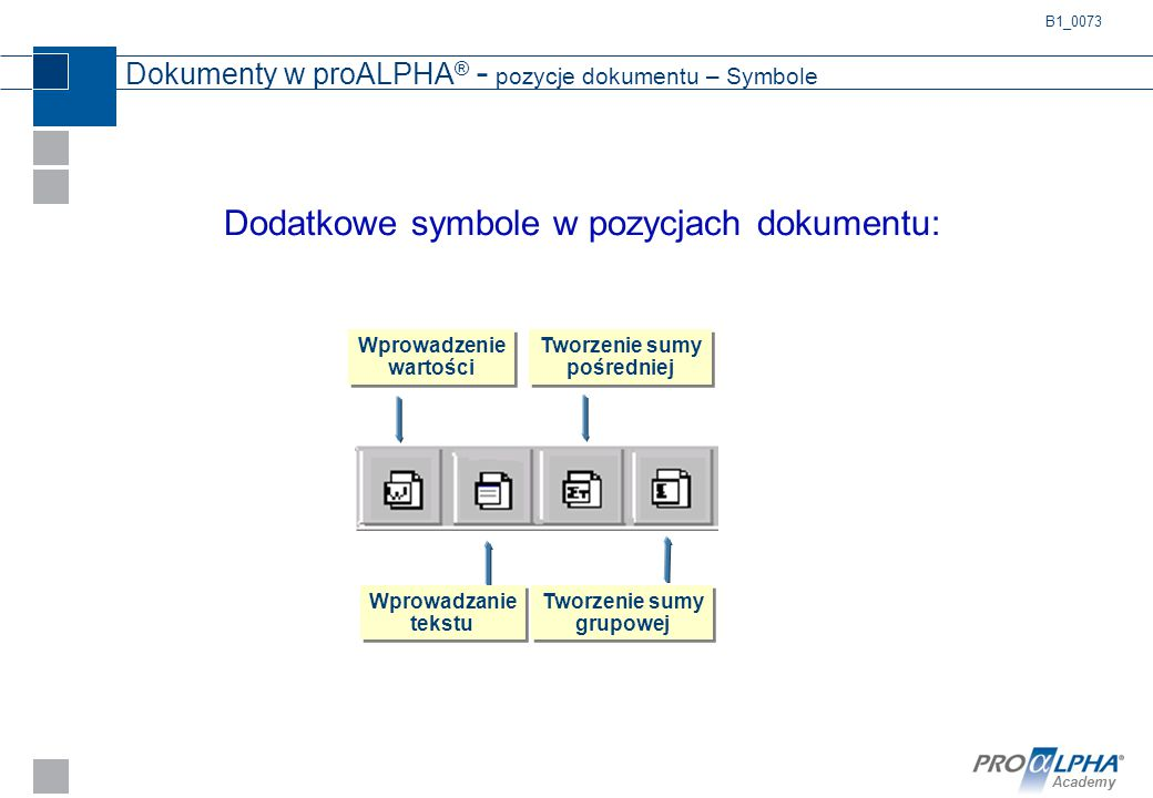 Academy Dokumenty w proALPHA ® - pozycje dokumentu – Symbole Tworzenie sumy grupowej Tworzenie sumy pośredniej Wprowadzanie tekstu Wprowadzenie wartoś