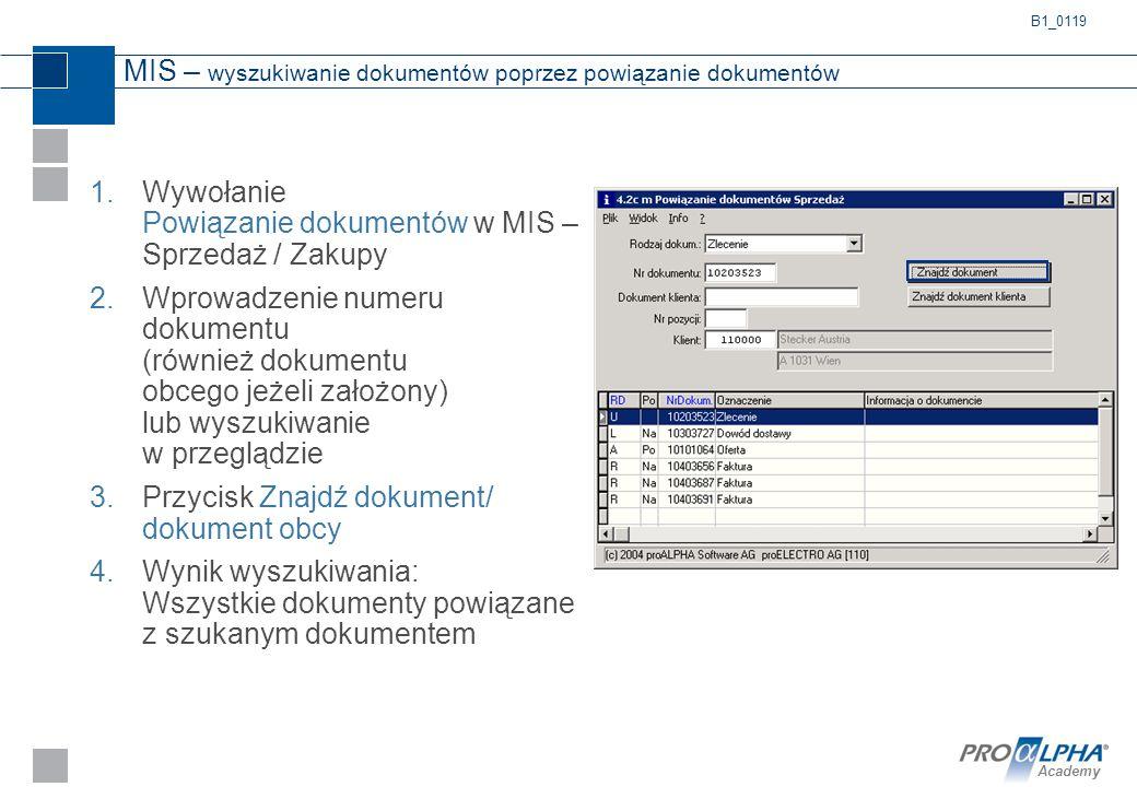 Academy MIS – wyszukiwanie dokumentów poprzez powiązanie dokumentów 1.Wywołanie Powiązanie dokumentów w MIS – Sprzedaż / Zakupy 2.Wprowadzenie numeru