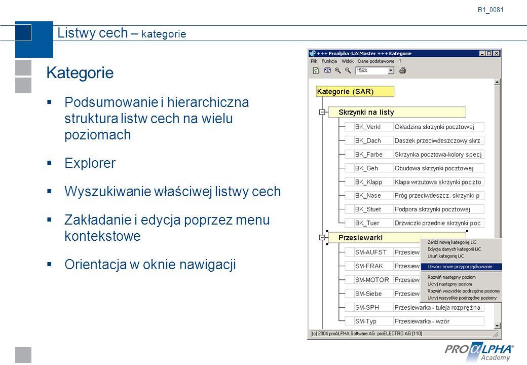 Academy Listwy cech – kategorie Kategorie  Podsumowanie i hierarchiczna struktura listw cech na wielu poziomach  Explorer  Wyszukiwanie właściwej l