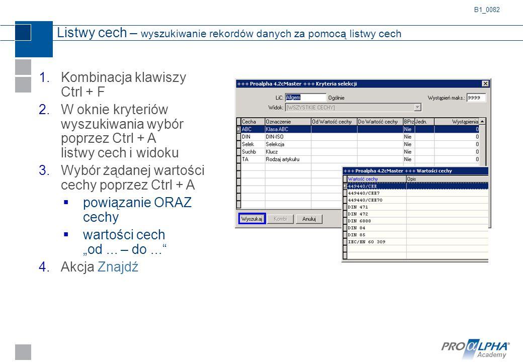 Academy Listwy cech – wyszukiwanie rekordów danych za pomocą listwy cech 1.Kombinacja klawiszy Ctrl + F 2.W oknie kryteriów wyszukiwania wybór poprzez