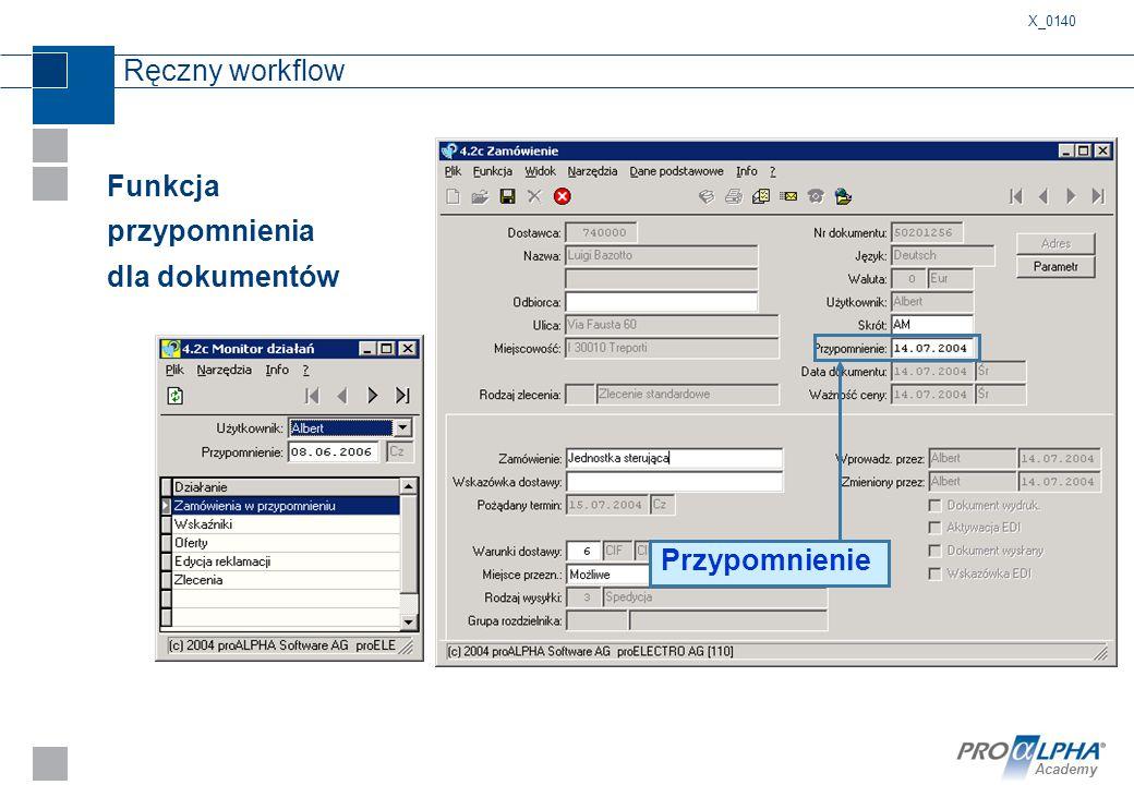 Academy Funkcja przypomnienia dla dokumentów Przypomnienie Ręczny workflow X_0140
