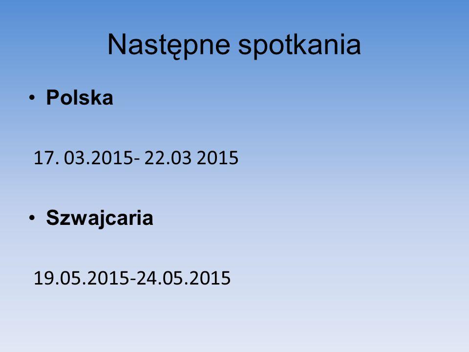 Następne spotkania Polska 17. 03.2015- 22.03 2015 Szwajcaria 19.05.2015-24.05.2015