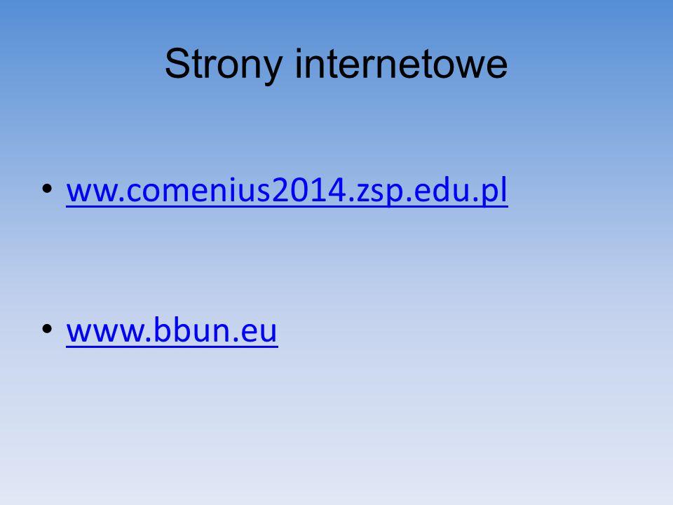 Strony internetowe ww.comenius2014.zsp.edu.pl www.bbun.eu