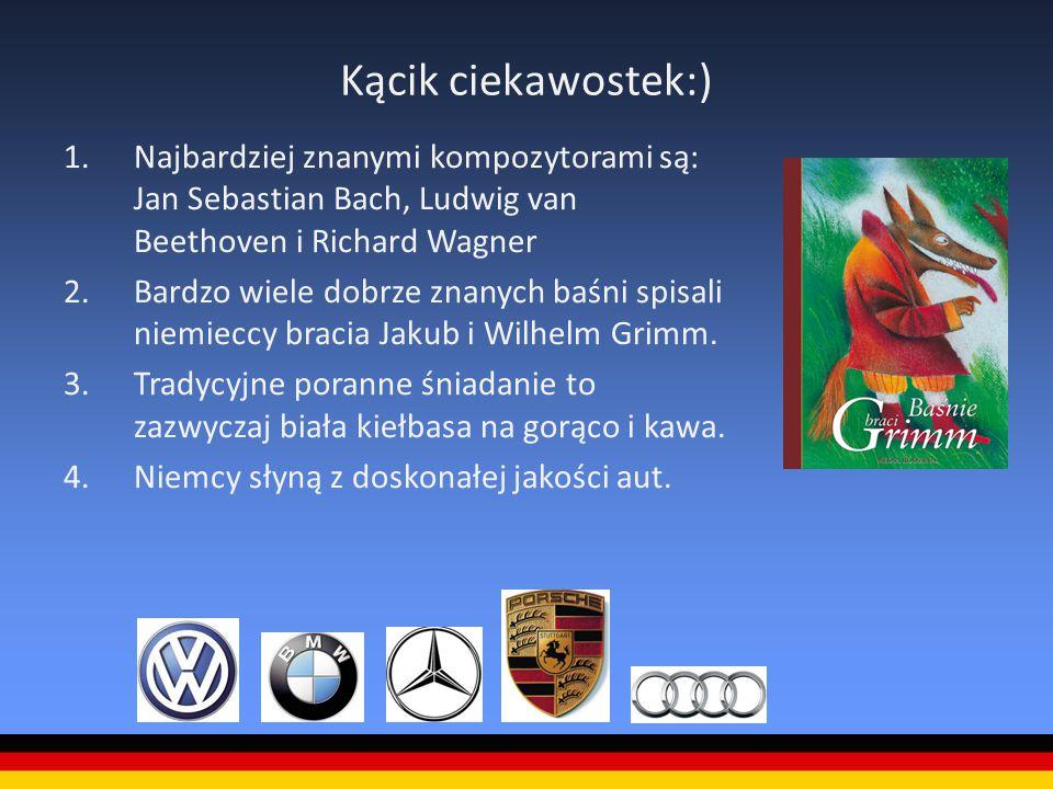 Kącik ciekawostek:) 1.Najbardziej znanymi kompozytorami są: Jan Sebastian Bach, Ludwig van Beethoven i Richard Wagner 2.Bardzo wiele dobrze znanych ba