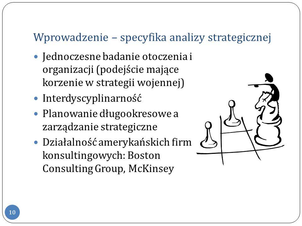 Wprowadzenie – specyfika analizy strategicznej Jednoczesne badanie otoczenia i organizacji (podejście mające korzenie w strategii wojennej) Interdyscy