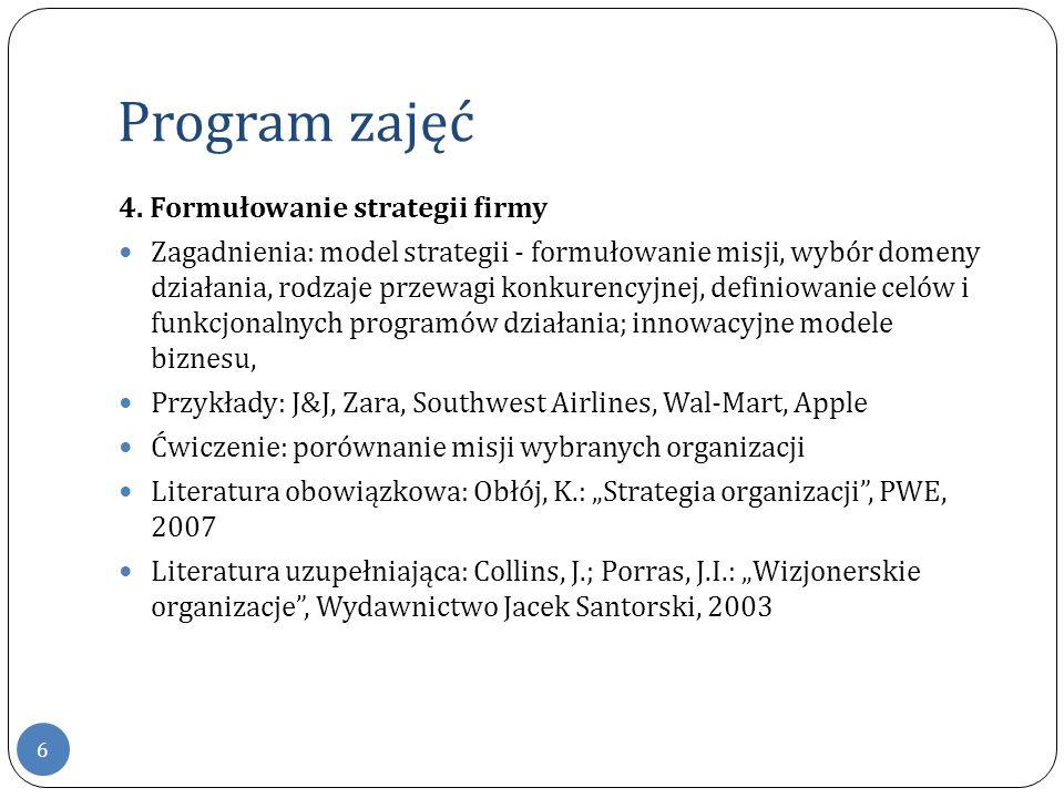 Program zajęć 6 4. Formułowanie strategii firmy Zagadnienia: model strategii - formułowanie misji, wybór domeny działania, rodzaje przewagi konkurency