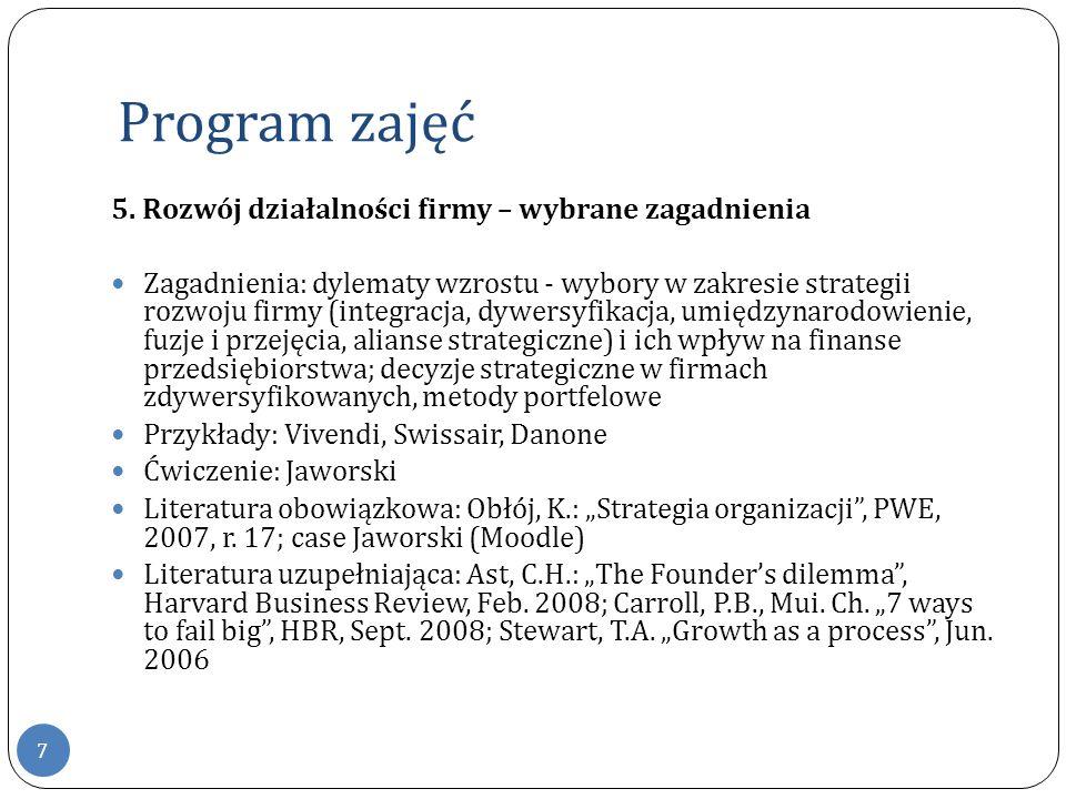 Program zajęć 7 5. Rozwój działalności firmy – wybrane zagadnienia Zagadnienia: dylematy wzrostu - wybory w zakresie strategii rozwoju firmy (integrac