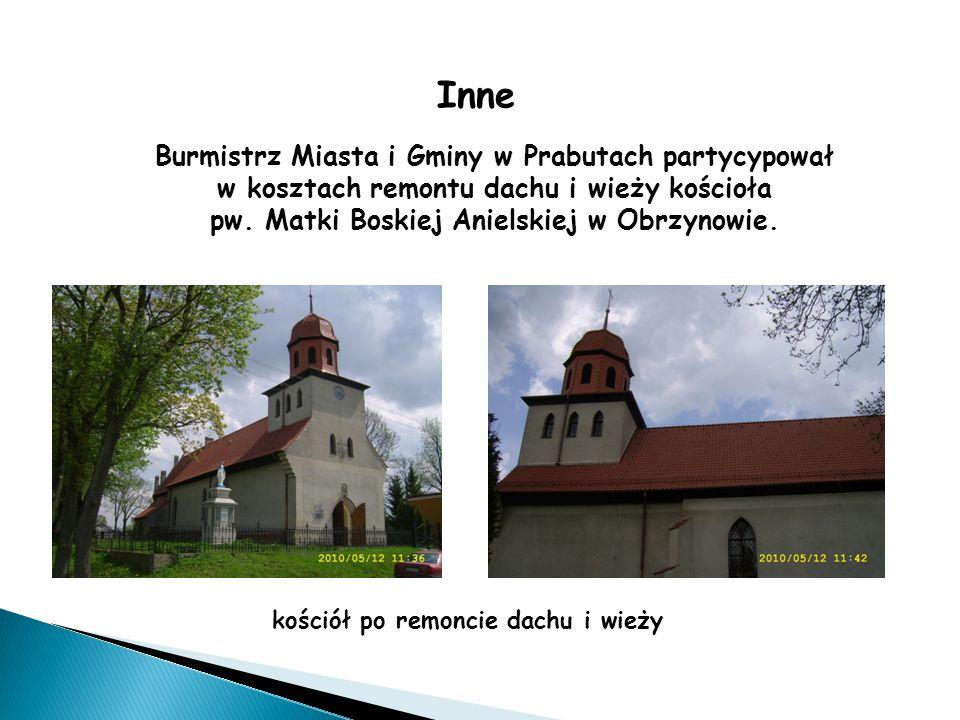 Inne Burmistrz Miasta i Gminy w Prabutach partycypował w kosztach remontu dachu i wieży kościoła pw.