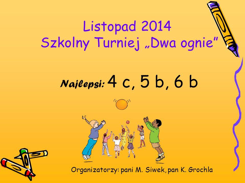 """Listopad 2014 Szkolny Turniej """"Dwa ognie"""" Najlepsi: 4 c, 5 b, 6 b Organizatorzy: pani M. Siwek, pan K. Grochla"""