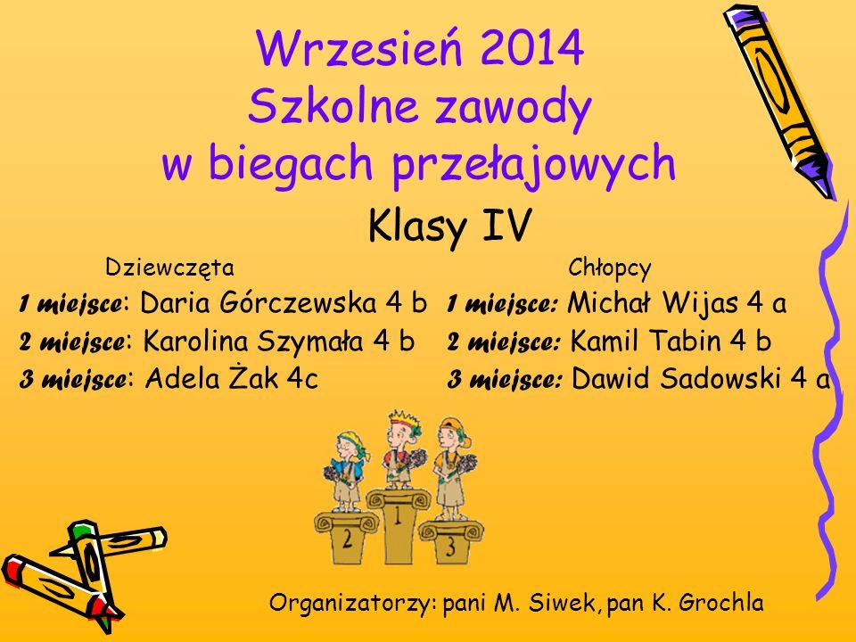 Wrzesień 2014 Szkolne zawody w biegach przełajowych Organizatorzy: pani M. Siwek, pan K. Grochla Klasy IV Dziewczęta Chłopcy 1 miejsce : Daria Górczew