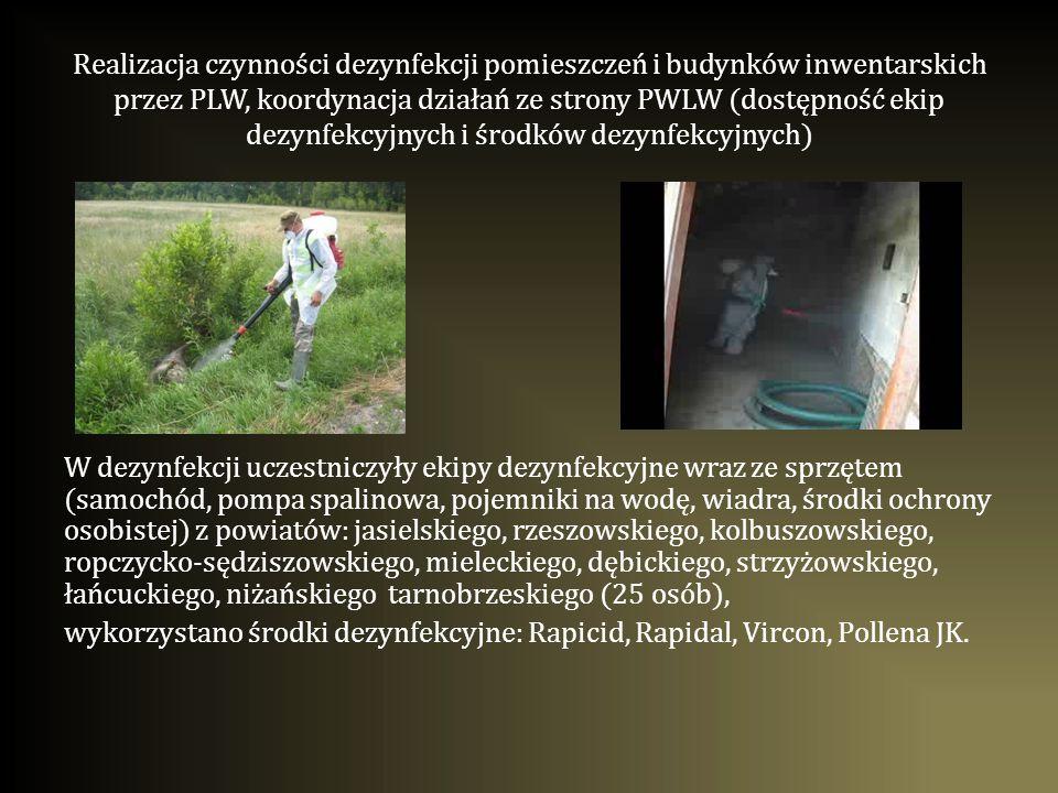 Realizacja czynności dezynfekcji pomieszczeń i budynków inwentarskich przez PLW, koordynacja działań ze strony PWLW (dostępność ekip dezynfekcyjnych i