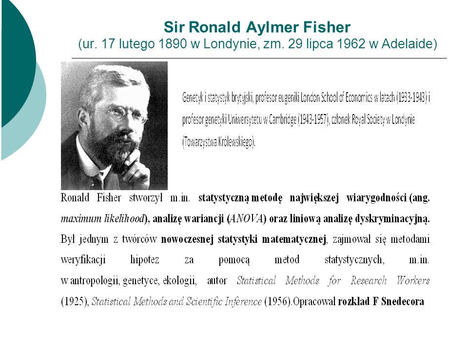 Sir Ronald Aylmer Fisher (ur. 17 lutego 1890 w Londynie, zm. 29 lipca 1962 w Adelaide)