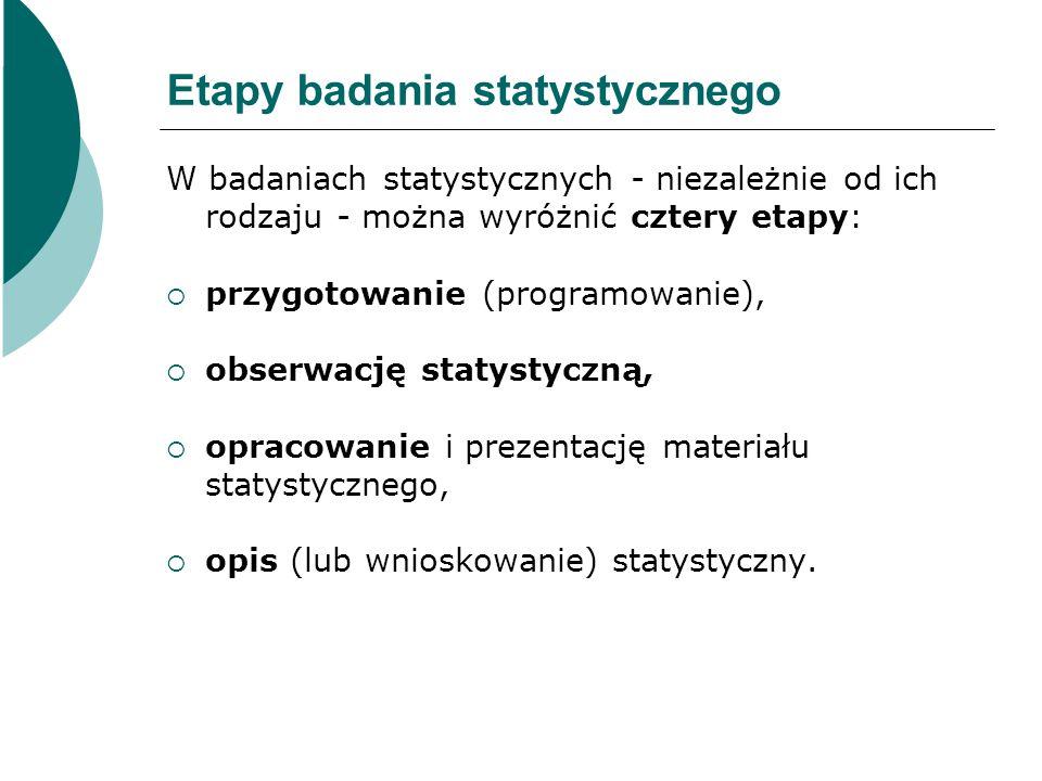 Etapy badania statystycznego W badaniach statystycznych - niezależnie od ich rodzaju - można wyróżnić cztery etapy:  przygotowanie (programowanie), 