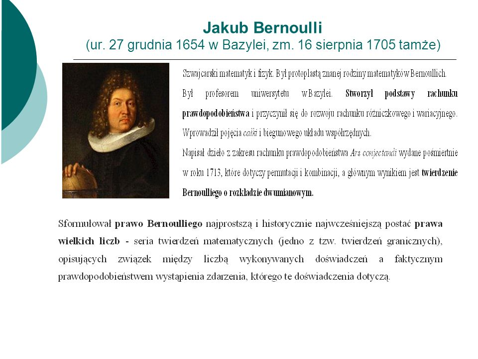 Jakub Bernoulli (ur. 27 grudnia 1654 w Bazylei, zm. 16 sierpnia 1705 tamże)