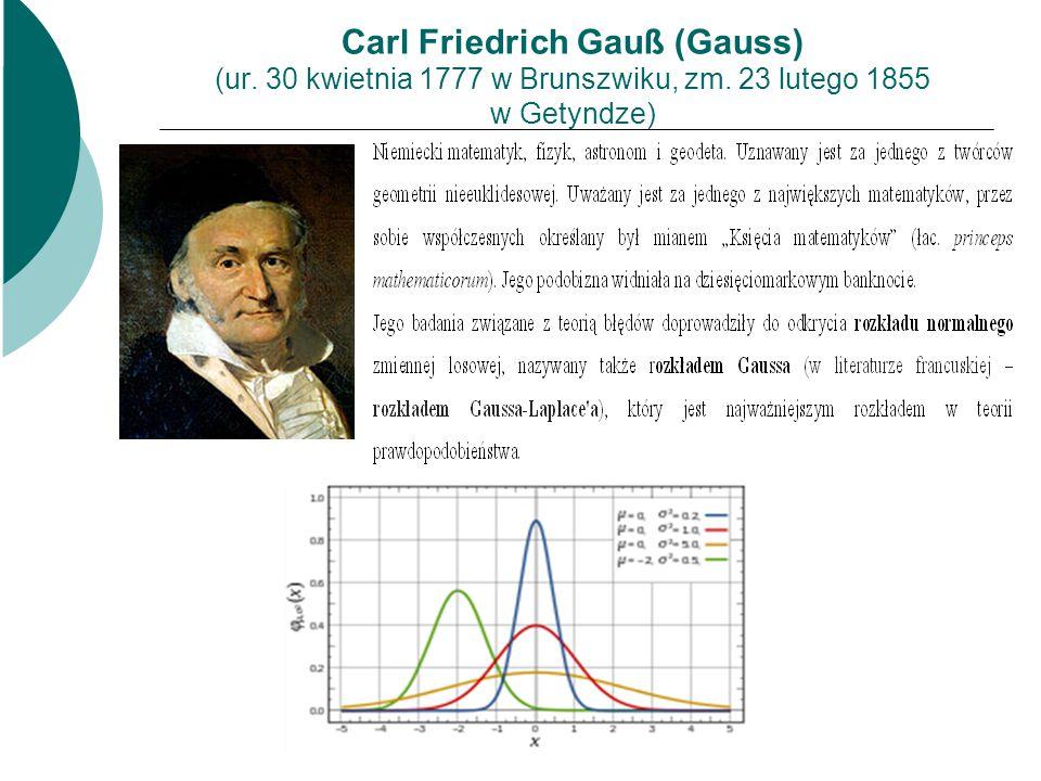 Carl Friedrich Gauß (Gauss) (ur. 30 kwietnia 1777 w Brunszwiku, zm. 23 lutego 1855 w Getyndze)