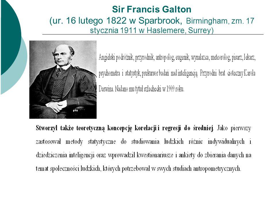 Sir Francis Galton (ur. 16 lutego 1822 w Sparbrook, Birmingham, zm. 17 stycznia 1911 w Haslemere, Surrey)