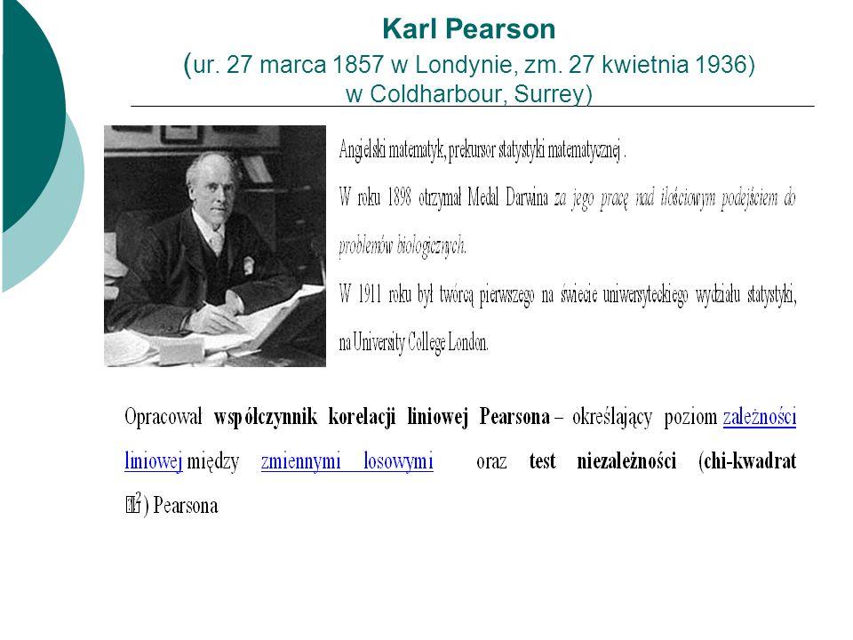 Karl Pearson ( ur. 27 marca 1857 w Londynie, zm. 27 kwietnia 1936) w Coldharbour, Surrey)