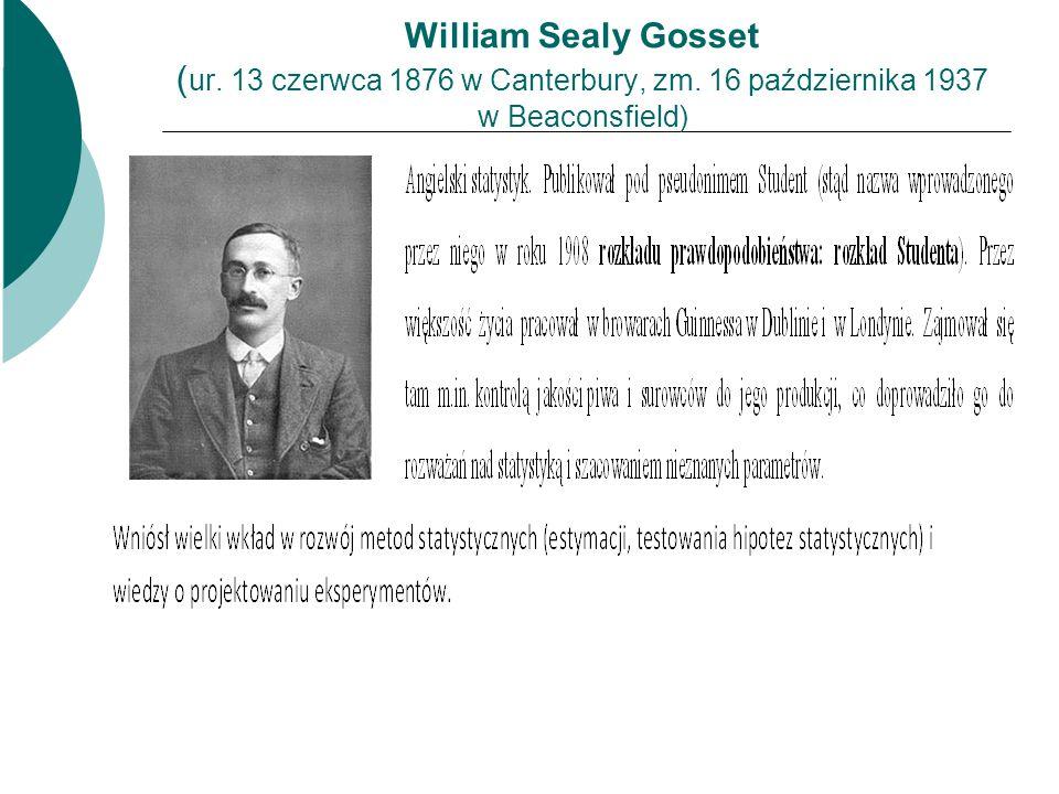 William Sealy Gosset ( ur. 13 czerwca 1876 w Canterbury, zm. 16 października 1937 w Beaconsfield)