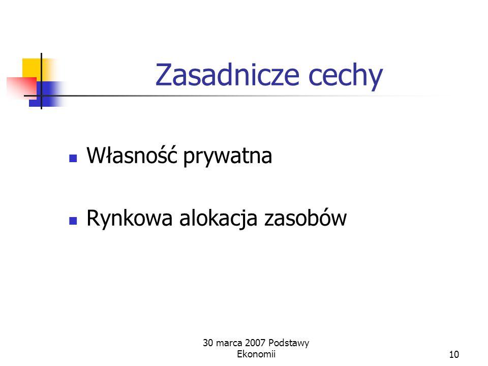 30 marca 2007 Podstawy Ekonomii9 Gospodarka rynkowa Warunki istnienia dojrzałego rynku: Własność prywatna Swoboda dysponowania własnością Swoboda prow