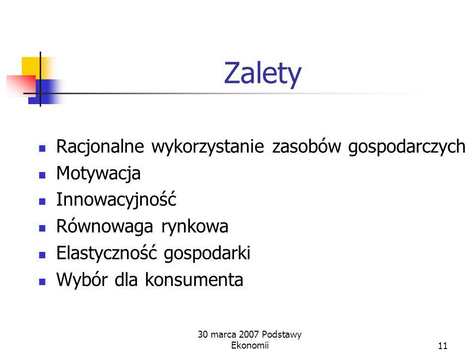 Zasadnicze cechy Własność prywatna Rynkowa alokacja zasobów 30 marca 2007 Podstawy Ekonomii10