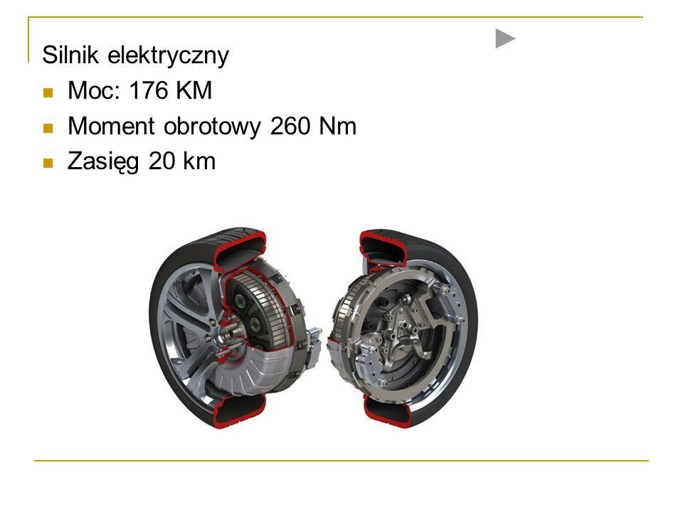 Silnik elektryczny Moc: 176 KM Moment obrotowy 260 Nm Zasięg 20 km