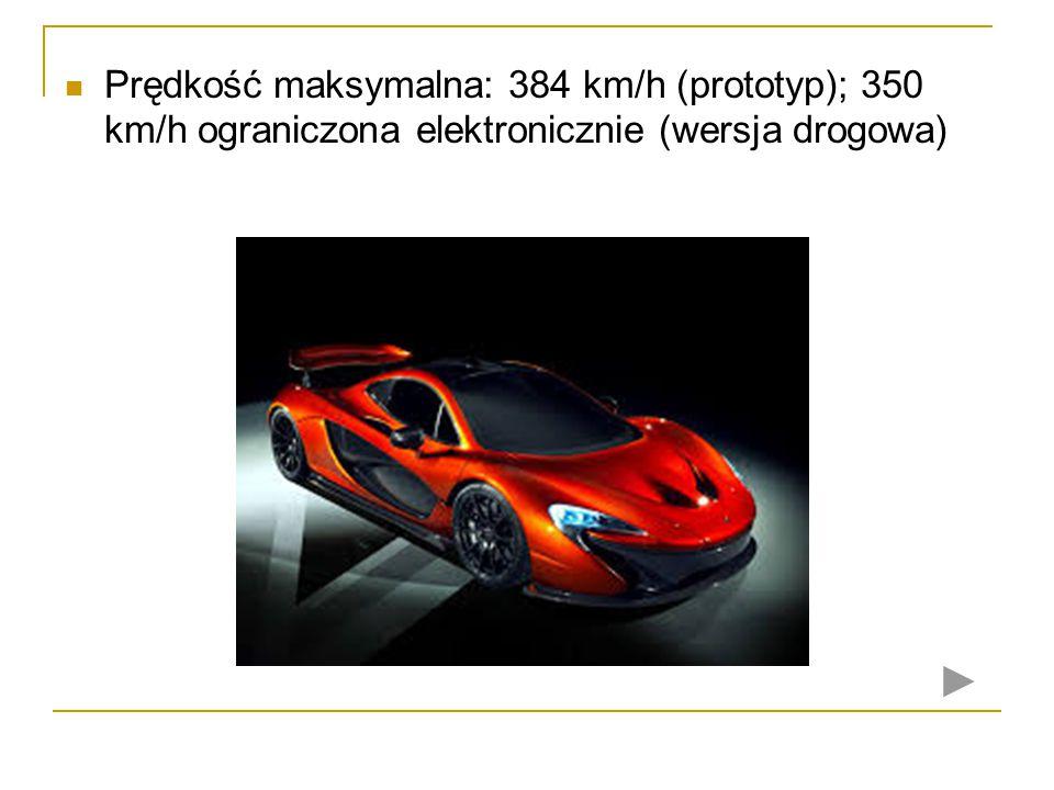Prędkość maksymalna: 384 km/h (prototyp); 350 km/h ograniczona elektronicznie (wersja drogowa)