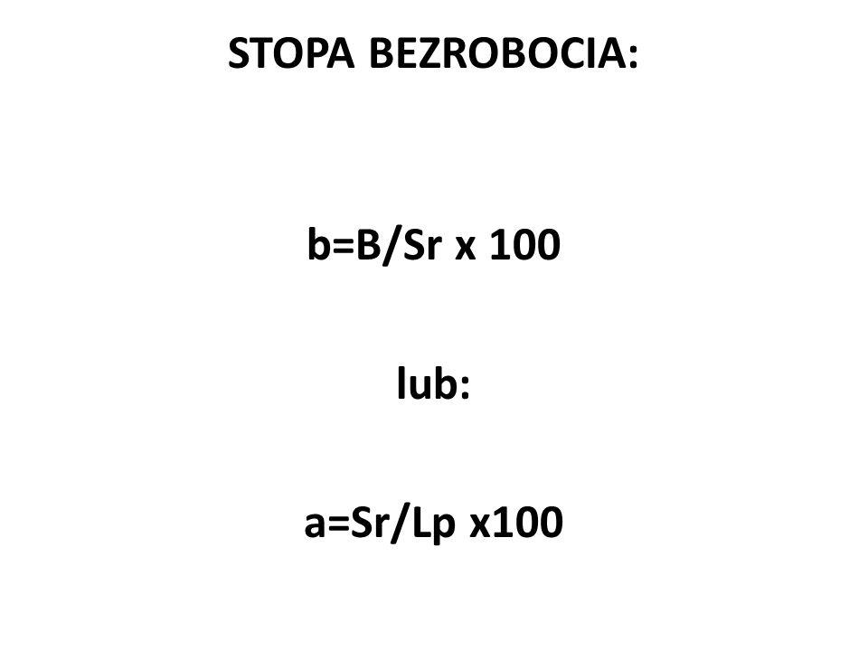 STOPA BEZROBOCIA: b=B/Sr x 100 lub: a=Sr/Lp x100