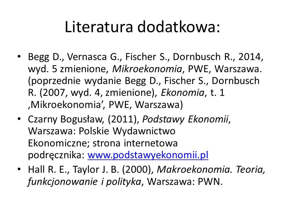 Literatura dodatkowa: Begg D., Vernasca G., Fischer S., Dornbusch R., 2014, wyd. 5 zmienione, Mikroekonomia, PWE, Warszawa. (poprzednie wydanie Begg D
