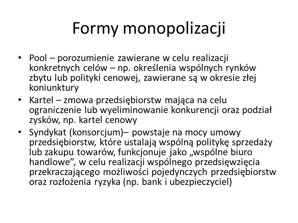 Formy monopolizacji Pool – porozumienie zawierane w celu realizacji konkretnych celów – np. określenia wspólnych rynków zbytu lub polityki cenowej, za