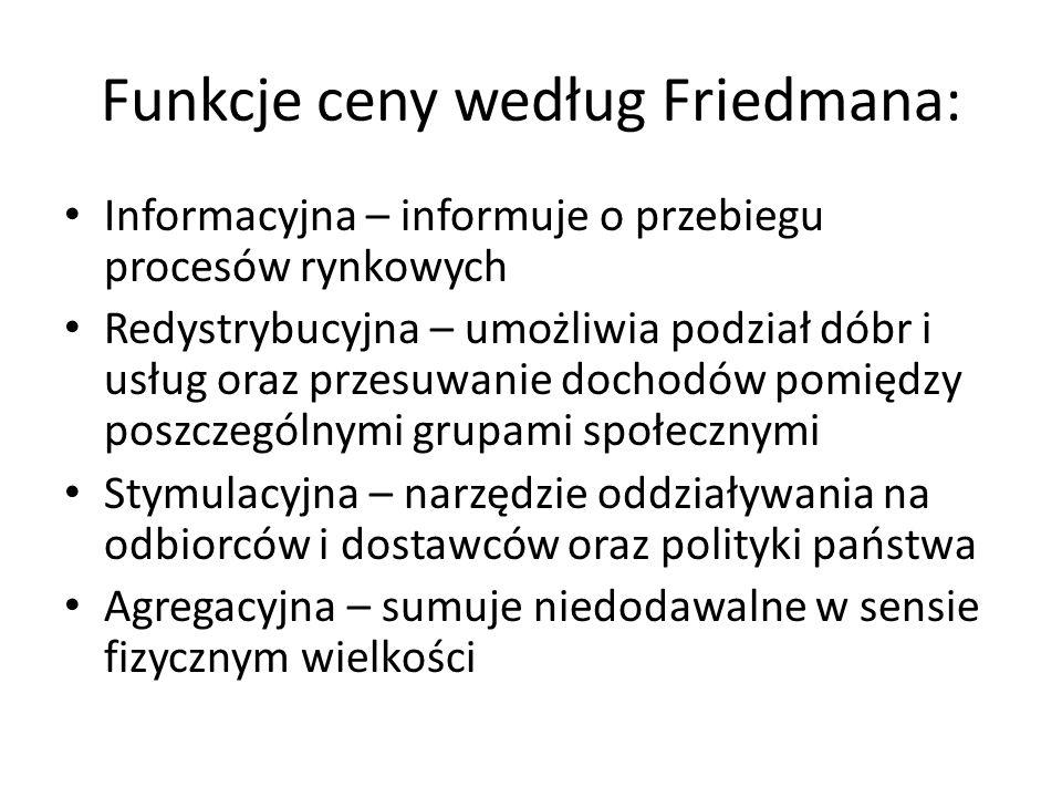 Funkcje ceny według Friedmana: Informacyjna – informuje o przebiegu procesów rynkowych Redystrybucyjna – umożliwia podział dóbr i usług oraz przesuwan