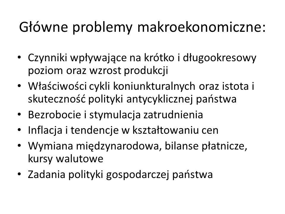Główne problemy makroekonomiczne: Czynniki wpływające na krótko i długookresowy poziom oraz wzrost produkcji Właściwości cykli koniunkturalnych oraz i