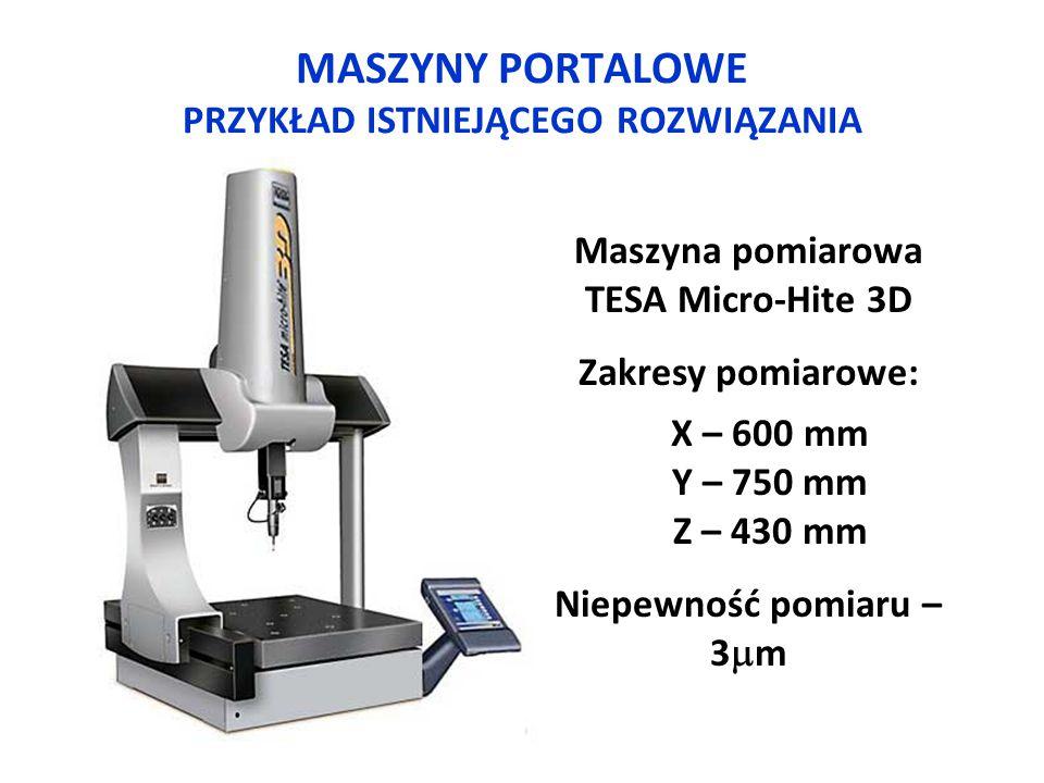 MASZYNY PORTALOWE PRZYKŁAD ISTNIEJĄCEGO ROZWIĄZANIA Maszyna pomiarowa TESA Micro-Hite 3D Zakresy pomiarowe: X – 600 mm Y – 750 mm Z – 430 mm Niepewnoś