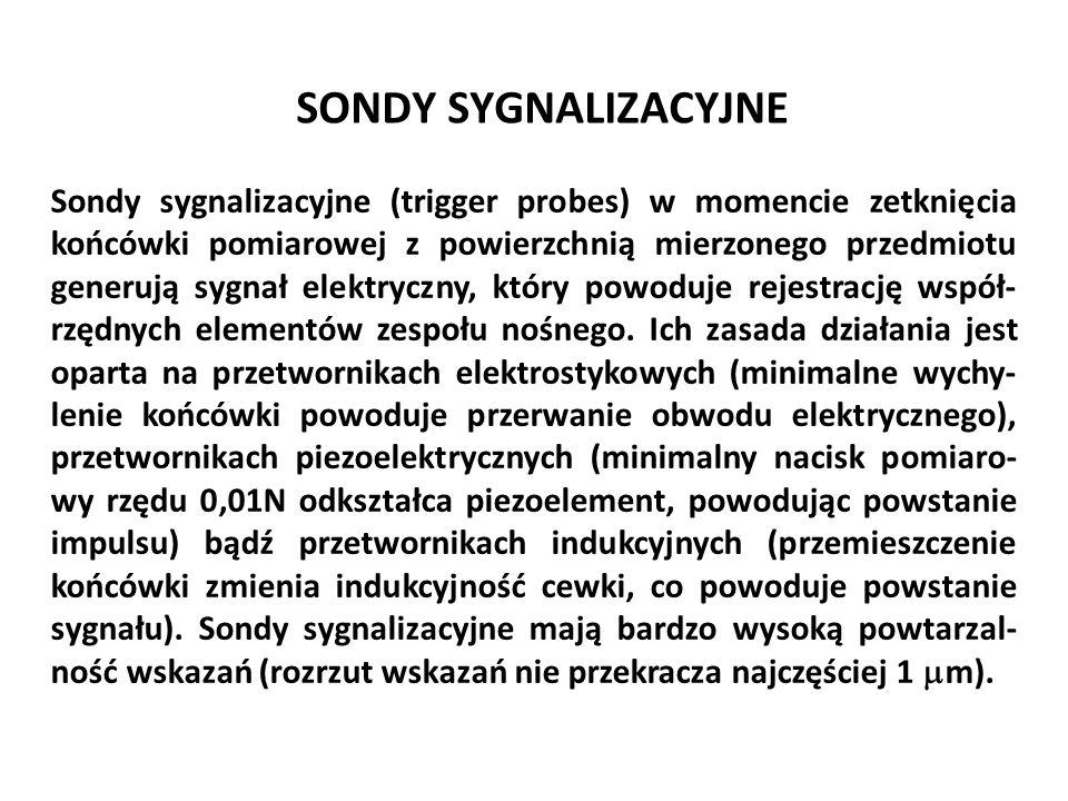 SONDY SYGNALIZACYJNE Sondy sygnalizacyjne (trigger probes) w momencie zetknięcia końcówki pomiarowej z powierzchnią mierzonego przedmiotu generują syg