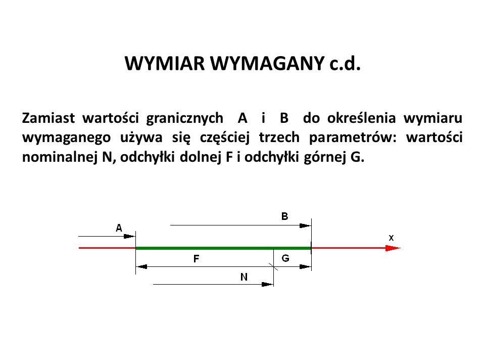 WYMIAR WYMAGANY c.d. Zamiast wartości granicznych A i B do określenia wymiaru wymaganego używa się częściej trzech parametrów: wartości nominalnej N,