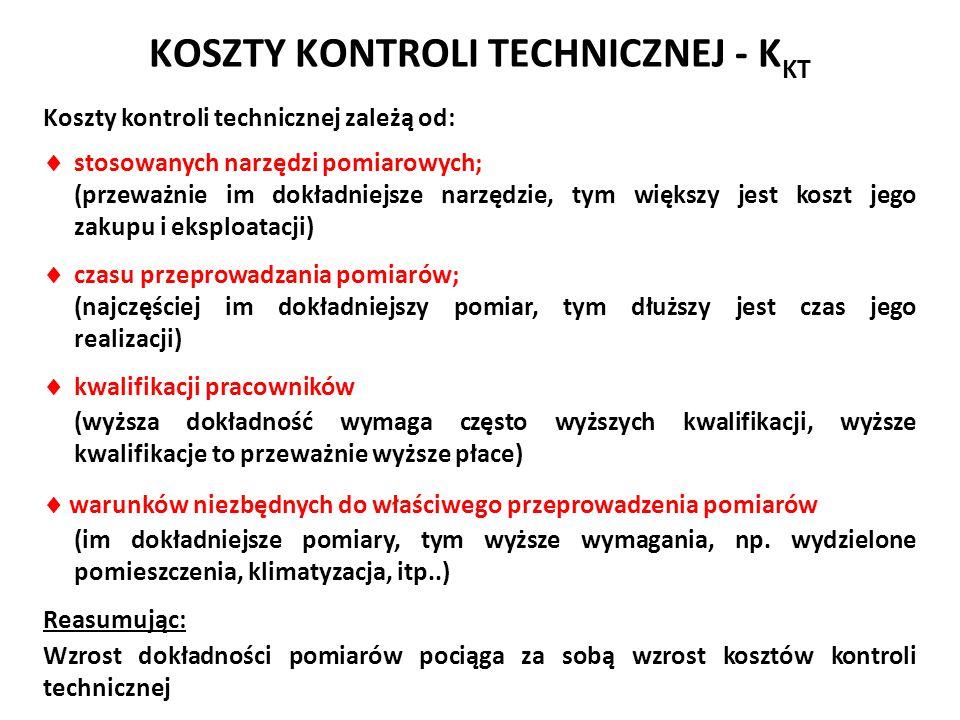 KOSZTY KONTROLI TECHNICZNEJ - K KT Koszty kontroli technicznej zależą od:  stosowanych narzędzi pomiarowych; (przeważnie im dokładniejsze narzędzie,