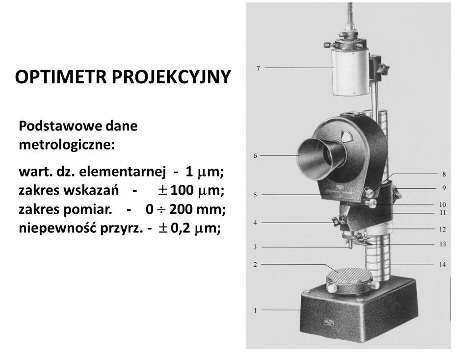 Józef Zawada, PŁ OPTIMETR PROJEKCYJNY Podstawowe dane metrologiczne: wart. dz. elementarnej - 1  m; zakres wskazań -  100  m; zakres pomiar. - 0 