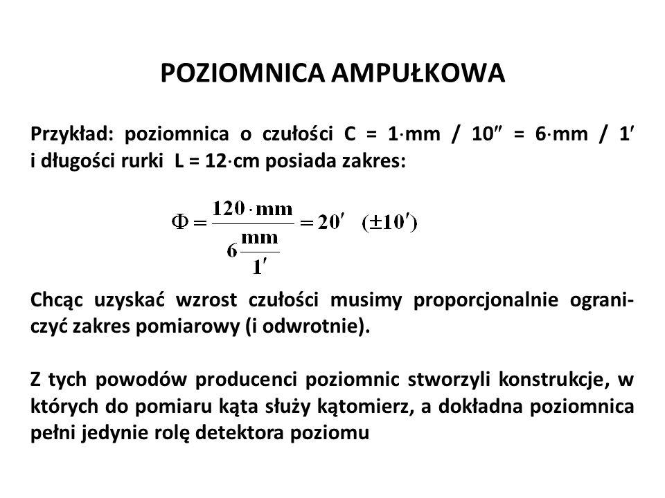 POZIOMNICA AMPUŁKOWA Przykład: poziomnica o czułości C = 1  mm / 10  = 6  mm / 1 i długości rurki L = 12  cm posiada zakres: Chcąc uzyskać wzrost