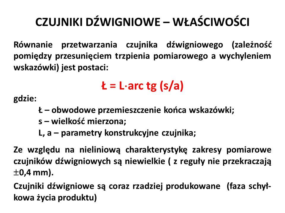 CZUJNIKI DŹWIGNIOWO-ZĘBATE PRZYKŁADY ISTNIEJĄCYCH ROZWIĄZAŃ Diatesty f-my Kafer: a) poziomy: z =  0,4 mm; w e = 0,01 mm b) pionowy: z =  0,4 mm; w e = 0,01 mm c) równoległy: z =  0,1 mm; w e = 0,002 mm a) b) c)