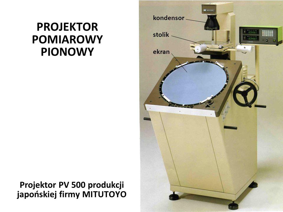 Józef Zawada, PŁ PROJEKTOR POMIAROWY PIONOWY Józef Zawada, PŁ Projektor PV 500 produkcji japońskiej firmy MITUTOYO kondensor stolik ekran